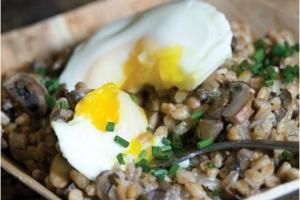 Cremini Farro Hash with Poached Eggs