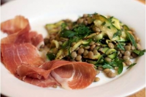 Lentil Salad with Grilled Zucchini and Prosciutto