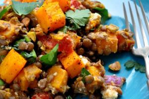 Warm Butternut Squash, Lentil & Feta Salad