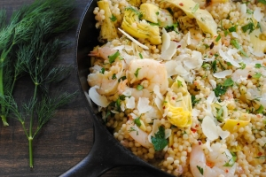 Lemon & Artichoke Couscous with Shrimp